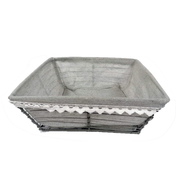 Corbeille métal carrée avec tissu gris